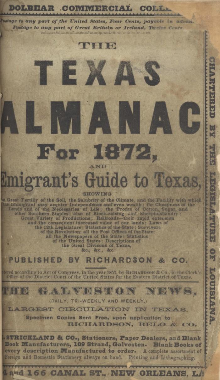1872 Texas Almanac