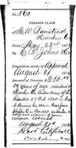 Pension Claim Aug. 21, 1874